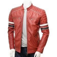 men s red leather biker jacket croyde for valentine s special