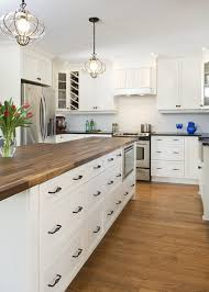 butcher block countertops dark cabinets kitchen