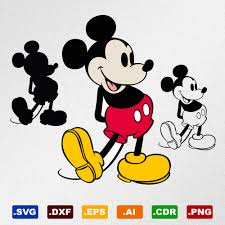 Retro Mickey Mouse Svg Dxf Eps Ai Cdr Vector Files for