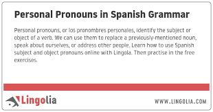 Personal Pronouns In Spanish Grammar