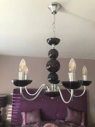 chandelier five arm purple glass light fitting from next