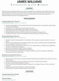Sample Resume Certified Nursing Assistant Certified Nursing Assistant Resume Examples Examples Of Resumes 46
