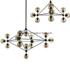 china amber glass ball black metal led modern chandelier china lamp chandelier light