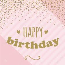 Happy Birthday Card With Confetti For Girl Pink And Gold Vector