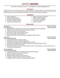Resume Objectives For Servers Ideal Vistalist Co With Server Job