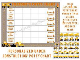 Potty Chart Personalized Fully Assembled Construction Truck Potty Training Star Chart Boys Sticker Reward Chart Laminated Premade