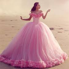 pink wedding gowns. Off The Shoulder Tulle Ball Gowns Flower Wedding Dresses For Bride