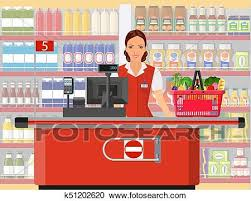 Groceries Cashier At Work Clipart K51202620 Fotosearch