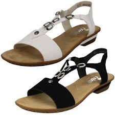 Rieker Shoe Size Chart Details About Ladies Rieker 63453 Slingback T Bar Open Toe Summer Casual Sandals Low Heel Size