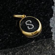 14k gold pave diamond initial later s charm pendant alphabet jewelry gift yellow nhv6297 diamond