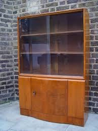free delivery vintage wooden display cabinet glass sliding doors retro furniture 1