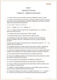 Math Expressions 120 Chart Cbse Class 7 Maths Chapter 12 Algebraic Expressions Formulas