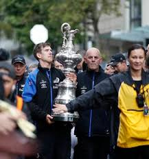 peter burling carried the america s cup parade in auckland to celebrate emirates team new zealand s winning