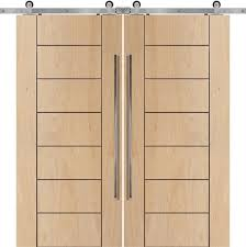 contemporary modern birch wood interior sliding barn double door 1 3 4 by glasscraft