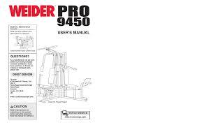 weider pro 9450 user manual pdf