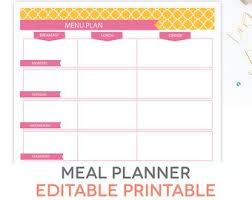 Menu Planning Template Printable Meal Planner Printable Set Editable Weekly Menu Plan Recipe Etsy