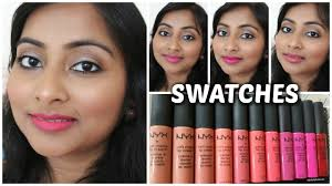 nyx soft matte lip cream swatches on indian brown skin tone 12 shades