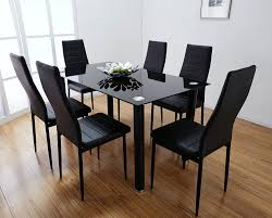 Glass Dining Table With Chairs Kitchen Table With 6 Chairs Modern Breakfast Nook Set Rustic