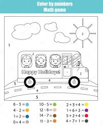 Small Picture Coloring page with kids in school bus Color by numbers math game