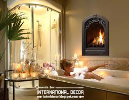 cozy interior bathroom with fireplace designs ideas electric fireplace in wall