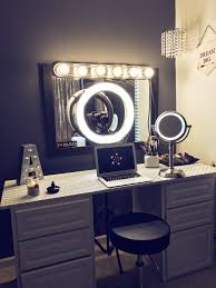 Table Ring Light For Makeup White Make Up Vanity With Ring Light In 2020 Vanity Makeup