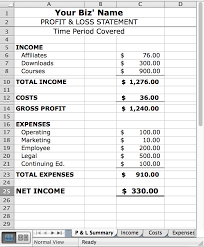 Profit And Loss Template For Self Employed Free Profit And Loss Template With For Self Employed Plus Printable