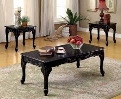 furniture of america cheshire 3 pc set coffee table 2 end tables in dark cherry black