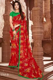 Kalaniketan Designer Sarees Floral Printed Party Wear Red Color Georgette Designer Saree
