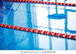 swimming pool in the fitness club the track splits red