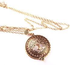 vintage gold tree of life locket magnifying glass pendant necklace souq uae