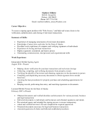 Property Agent Resume Matthew Millette Signing Agent Resume