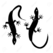 Two Silhouettes In The Form Of Lizards Monochrome Vector Illustration