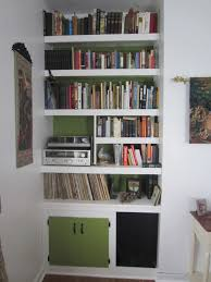 furniture white painted wooden built it corner shelves which