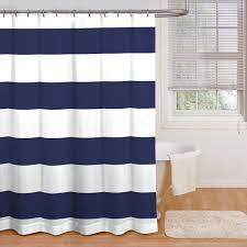 Navy Blue Vertical Stripe Shower Curtain