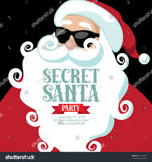 stock vector cartoon secret santa invitation with eps vector simple secret santa invitation