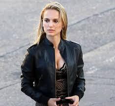 natalie portman black biker leather jacket