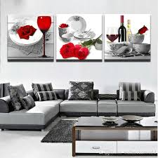 home wine room lighting effect. 2018 Prints Poster Wall Modular Picture Home Decor 3 Panel Red Roses Wine Glass Flowers Canvas Art Living Room Paintings Artwork From Wallstickerworld, Lighting Effect