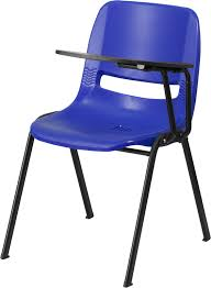blue ergonomic s chair with left handed flip up tablet arm rut eo1