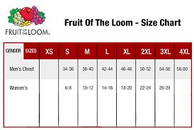 26 Unique Fruit Loom T Shirts Size Chart