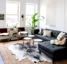 Gray sofa with modern coffee tables, cowhide rug, and indoor plants. I love