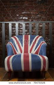british flag furniture. British Flag Armchair. Loft Style Interior With An Old Brick Wall And Metallic Stair Rails Furniture
