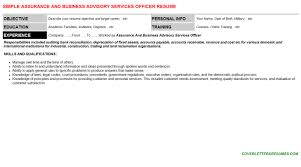 Assurance And Business Advisory Services Officer Resume Cover