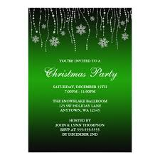 Christmas Invitation Card Green Black Sparkle Snowflakes Christmas Party Invitation Card