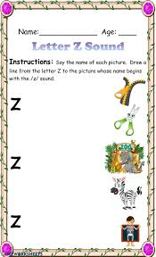 Phonics worksheets aa to zz. Letter Z Sound Recognition Worksheet