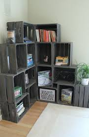 wooden crates stacked and anchored to be shelves Visual Jill Interior  Decorating - Crafting Intensity