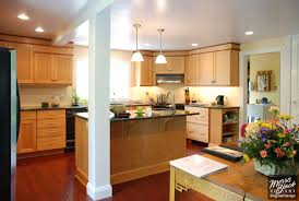 transitional kitchen lighting. Fetching Transitional Kitchen Design Ideas : Incredible Decoration With Maple Wood Cabinet Along Lighting