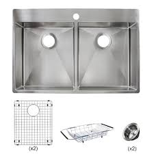 Franke Vector All In One Dual Mount Stainless Steel 33 In 1 Hole Double Bowl Kitchen Sink Kit