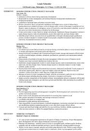 Senior Construction Project Manager Resume Samples Velvet Jobs