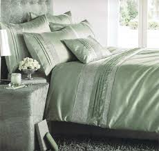 superking size stylish willow green embellished pin tuck diamante duvet cover set