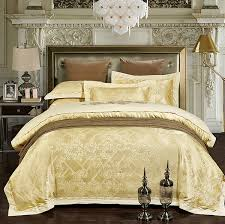 luxury bedding sets jacquard bedspreads gold yellow duvet cover set embroidered satin sheets bed in a